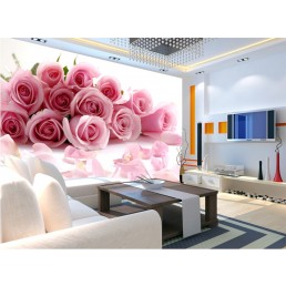 photo-wallpaper-Romantic-painting-Pink-Stereoscopic-rose-flower-romantic-living-room-bedroom-wall-mural-luxury-wall